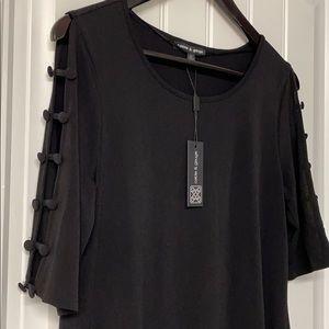 Black Button-Sleeve Blouse